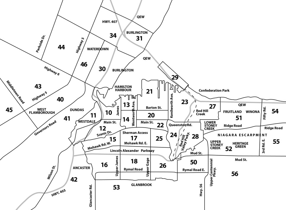 An Illustration of a map of the local MLS areas as  defined by the Realtors Association of Hamilton-Burlington
