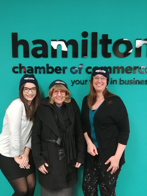 Photo of Judy at the Hamilton Chamber of Commerce after her interview regarding her OBAA nomination