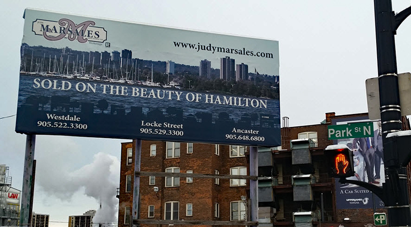 Photo of Judy Marsales Billboard Sign on Park Street at York Boulevard in Hamilton ON